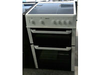 a202 white beko 60cm double oven ceramic hob electric cooker comes with warranty can be delivered
