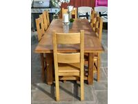 Bespoke Farmhouse Oak Table with Eight Oak Dining chairs