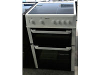 e202 white beko 60cm double oven ceramic hob electric cooker comes with warranty can be delivered