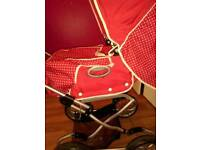 3in 1 pram Moses basket high chair and pram