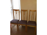 """3 X IKEA """"ADAM"""" DINING CHAIRS C/W GREY SEATS W35 X D41 X H100 CM (46CM FLOOR TO SEAT) £23 FOR ALL 3"""