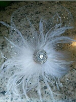 Birdcage Veil French Tulle Full Face Rhinestones With Real Ostrich Feathers
