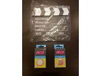 Hollywood clapper and 2 chalk boxes (white and colours)