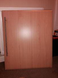Beech Effect Kitchen Unit Doors/drawer fronts x 28 various sizes including handles
