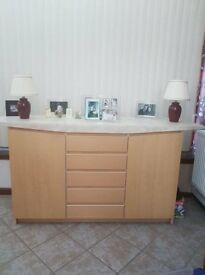 Marble top and wooden base unit.