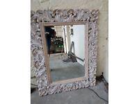 Large Carved Wood Framed Mirror