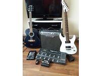 Bundle of Music Equipment-2 Guitars,1 amp,2 guitar leeds,2 pedals,1 tuner,line 6