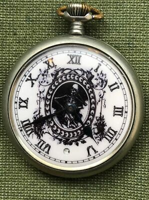 Vintage Antique Memento Mori Skull OMEGA Digital Second Pocket Watch