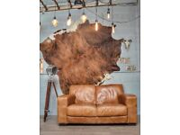 Cesar Vintage Leather 2 Seater Sofa Couch Tan