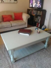 Sturdy coffee table with great shelf underneath for storing books or magazines