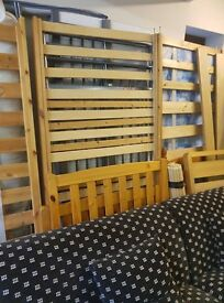 Single pine frames + mattresses for sale