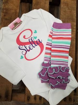 NEW Girls Personalized Baby Shower Gift Welcome home bodysuit legwarmers present](Personalized Baby Stuff)