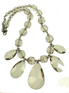 vintage joan rivers huge graduated grey crystal baubbly