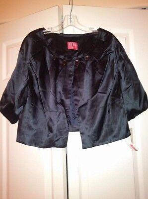 ELLE Dressy Embellished Black Satin lightweight jacket Cropped bolero wrap XL