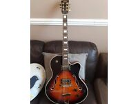 Stagg A300 Semi Acoustic Sunburst Jazz Guitar !