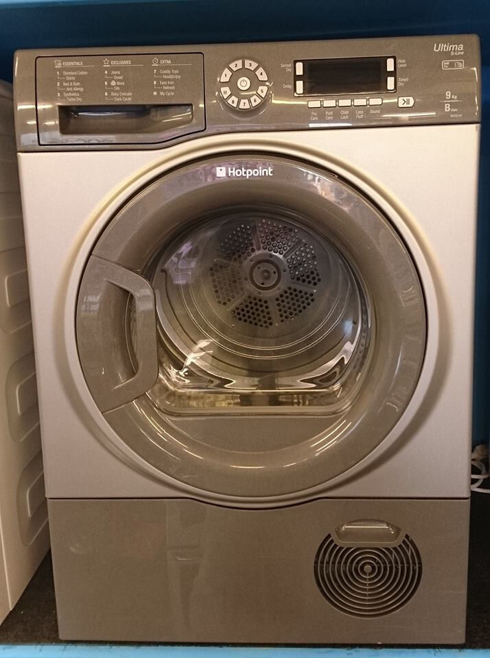 q355 graphite hotpoint 9kg B rated condenser dryer comes with warranty can be delivered or collected