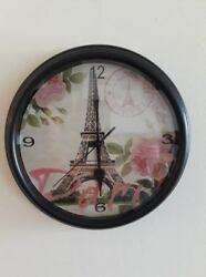 chic pink paris eiffel tower french  Decorative Wall Clock decor kitchen shabby