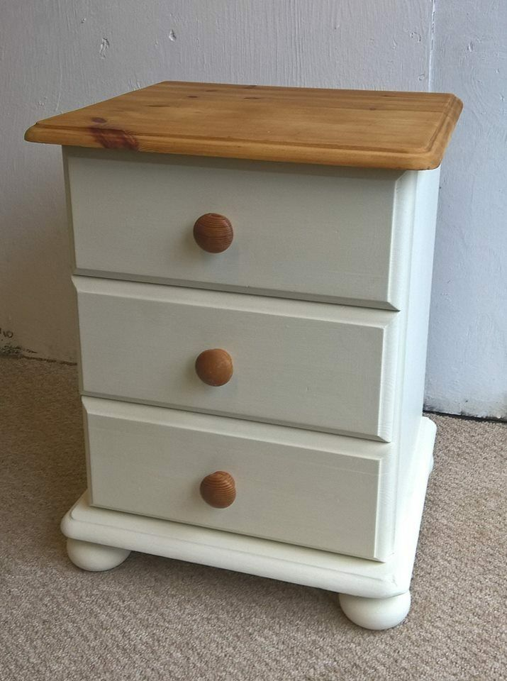 Pine Bedside Table In Mortlake Cream Chalk Paint Can Deliver Dresser Sideboard Shabby