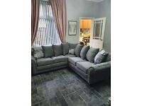 BRAND NEW SHANNON BLACK AND GREY AND NICOLE CORNER SOFA AVAILABLE IN STOCK