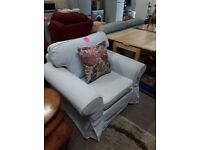 Like NEW duck egg blue fabric chair Copley Mill LOW COST MOVES 2nd Hand Furniture STALYBRIDGE SK15