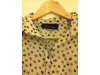 Ladies Cream Flower Pattern Size 14 Vintage Shirt