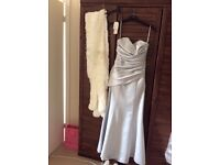 Silver Bridesmaid Dress with a Fir Stole and matching shoes