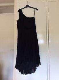 Black one shouldered dipped hem dress