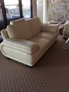 White leather lounge Salamander Bay Port Stephens Area Preview