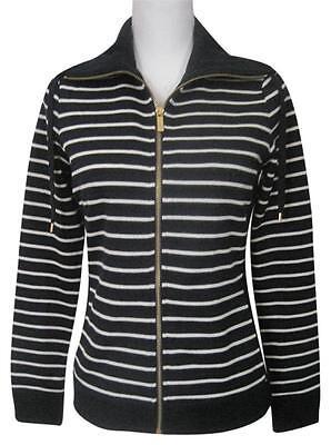Sleeve Funnel Neck Jacket - NWT Ralph Lauren Funnel-neck Striped Full Zip Long Sleeve Jacket, Navy, Sz XS