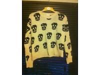 Cream and black skull wool jumper