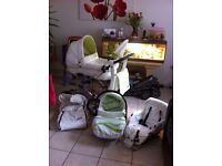 3-in-1 white leather and lime green pram