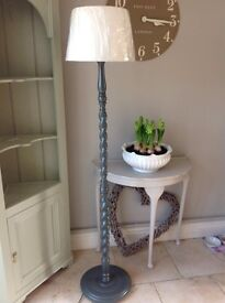 Painted Wooden Lamp & Shade