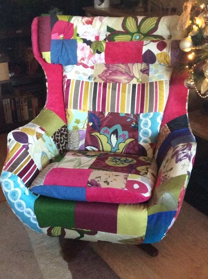 Retro Unique Patchwork Parker Knoll Tilt And Swivel Egg Chair With - Parker knoll egg chair