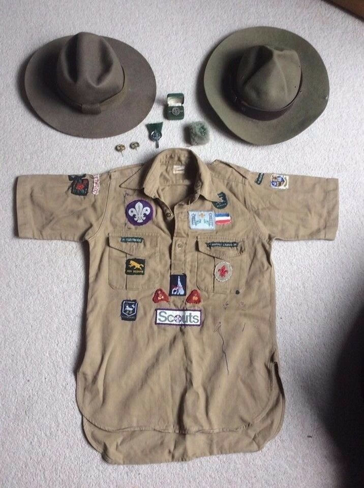 Vintage Scout Hats, Shirt, Badges, stick pins, Woggle
