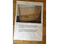 Mamas and Papas cot made from solid beech complete with safety mattress