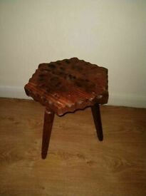 HAND MADE SOLID STOOL IN VERY GOOD CONDITION - VERY RARE