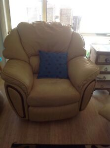 Real Leather Lounge & 2 Leather recliner chairs Adelaide CBD Adelaide City Preview