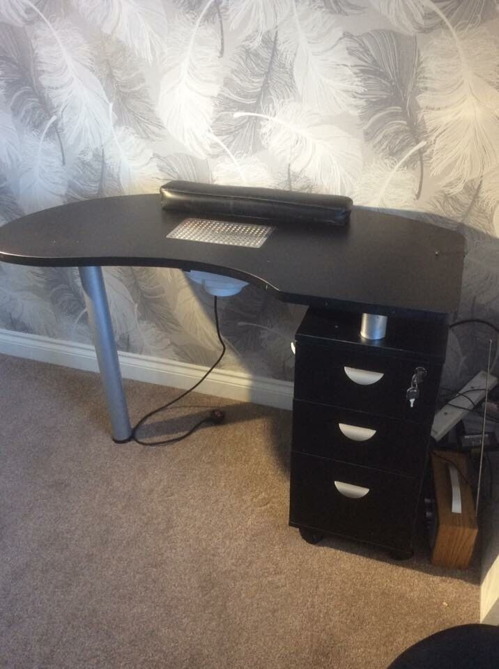 Black Nail Desk With Extractor Fan And Chair In Bamber