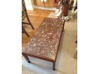 Coffee table with dark brown legs and brown mottled effect marble top