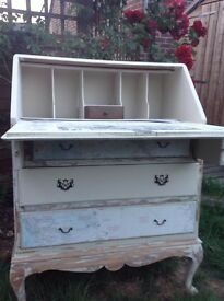Vintage Writing Bureau Painted with Everlong Superior Paint Double Cream