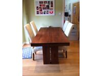Walnut dining table and 6 chairs