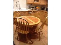 Tiled Top wood Table and Chairs