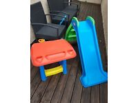 LITTLE TIKES MY FIRST SLIDE AND OUTDOOR CRAFTS TABLE FROM TOYS R US VGC