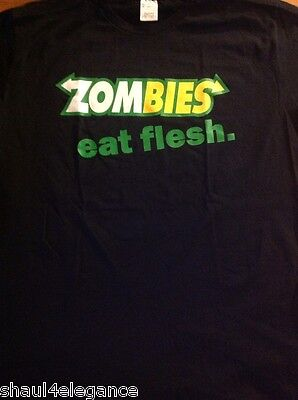 Walking Dead Zombies Eat Flesh Silkscreen Black 100  Cotton Shirt Zombie Parody