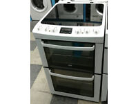 e347 white zanussi 55cm double oven electric cooker comes with warranty can be delivered