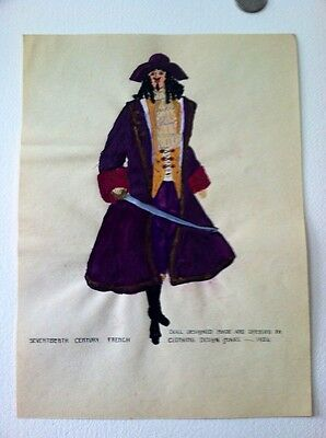 "1924 Original Painting 17th Century French ""pirate""Fashion Dress"