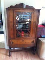 Antique table, chairs, hutch and china cabinet