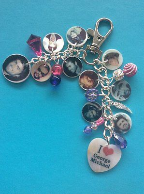 NEW GEORGE MICHAEL MEMORY PHOTO HANDBAG CHARM PURSE BAG KEYRING free gift ba