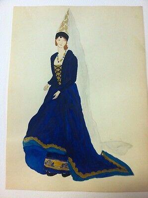 1929 Original Painting 15th Century English Ladys Fashion Dress Design