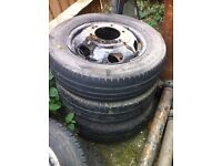 3 X Ford Transit Truck wheels and Tyres for tippers, lutons, recovery